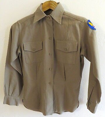 ORIGINAL WWII WAC Shirt Blouse, Army Air Corp patch, gabardine. 38 chest. Clean