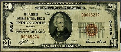 1929    $20    Fletcher American NB Note   Indianapolis, IN    #9829