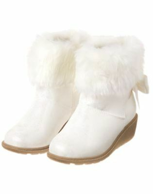 NWT GYMBOREE Holiday Shop WHITE FAUX FUR WINTER BOOTS Booties 9,11,1