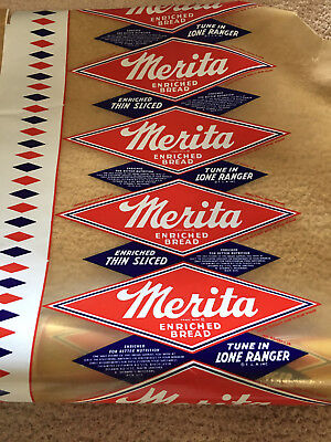 Merita Lone Ranger Bread Wrappers Roll Vintage, continuous roll.