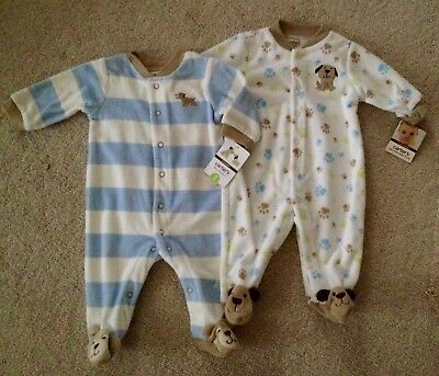Lot of 2 NEW Carter's Puppy Theme Baby Boy Snap-Up Sleep & Play Size 3 months