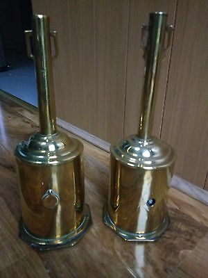 Pair Antique Vintage Brass Fire Side Clockwork Spit Rosters