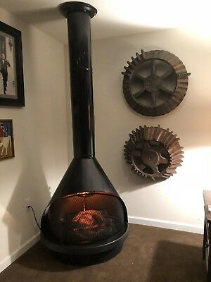Mid Century Modern Wet Black Cone Electric Fireplace