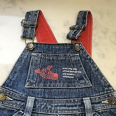 12-18 Month Vintage Ladybird 90s Denim Dungarees Dog Theme