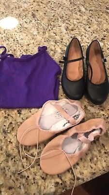 Bloch Tap Shoes Size 4 1/2, Barbette's Ballet Size 4 1/2 & Intermediate Eurotard