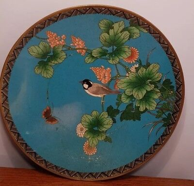 Antique Japanese Meji Period Cloisonne Charger Plate Large. 19Th Century Blue