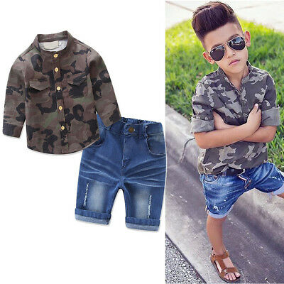 Toddler Baby Boy Kid Camouflage Shirt Pants Denim Top Birthday Outfits Clothes