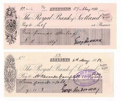 2 x different Victorian Royal Bank of Scotland cheques from 1882 Aberdeen Branch