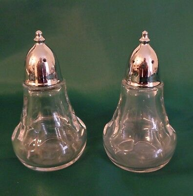 VTG 1960s CLEAR GLASS & SILVER PLATE SALT & PEPPER SHAKERS 3 1/4 INCHES PRETTY!
