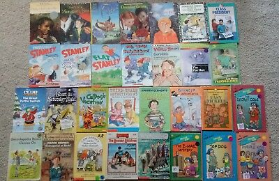 Lot of 30 Fun Read Chapter Books Home Schooling Flat Stanley, Encyclopedia Brown