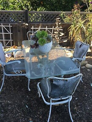 Woodard Vintage White Wrought Iron Rectangle Glass patio Set With 4 Chairs