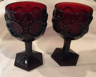 """2 Vintage Avon Cape Cod Ruby Red Glass Goblets 5.5"""""""