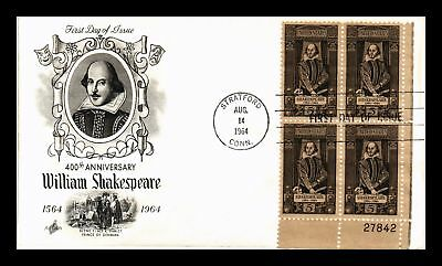 Dr Jim Stamps Us William Shakespeare 400 Years First Day Cover Plate Block 1964