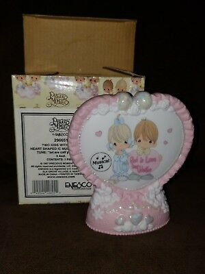 Precious Moments 1997 Two Kids w/ Heart Musical Plaque Porcelain Figurine NEW