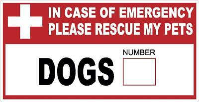 In Case Of Emergency Save My Pets Door Sticker Decal Fire Warning Safety