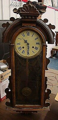 """Antique Regulator Wall Clock with Ornate Wood Case 36"""" WITH KEY"""