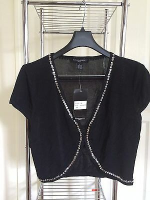 New evening black knit short sleves top, sequins, cover, jacket, SZ L