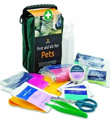 First Aid Kit for Pets provides equipment to treat animal dog cat cuts Bruises