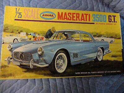Vintage 1964 Maserati 3500 GT 1/25 Scale Model Kit by Aurora - Clean, untouched
