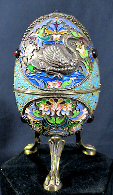 OUTSTANDING RUSSIAN ENAMEL FOOTED EGG**after FABERGE**HIGHEST QUALITY