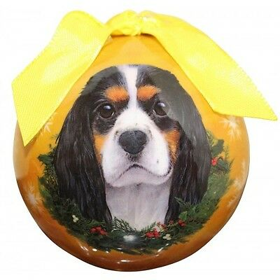 Cavalier King Charles Spaniel Tri Color Shatterproof Ball Dog Christmas Ornament