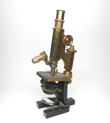 Early Carl Zeiss Jena Brass Microscope Serial No. 7976 Stand I Horse Shoe Foot