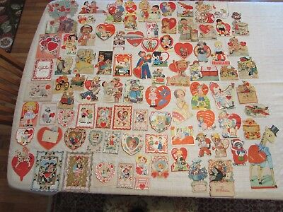 Lot of 85 Used Vintage Valentine's Cards, 1920's through 1950's