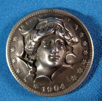 Pop Out / Punch Out Coin; 1904 Barber Quarter, Had A Pin On The Back