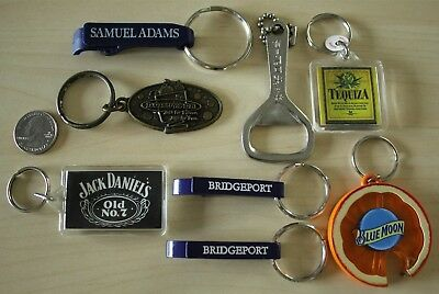 Lot of 8 Beer Alcohol Keychains Key Rings Samuel Adams Jack Daniels Blue Moon