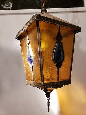 Vintage Stain Glass  Brass Hanging Light Fixture