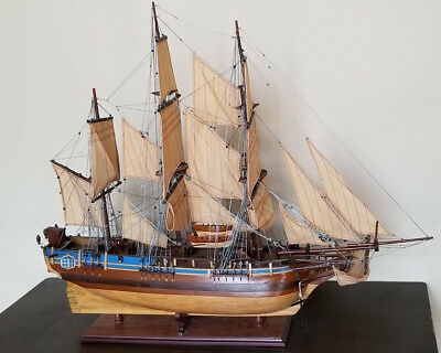 "HMS Bounty 37"" wood model ship historic British sailing boat"