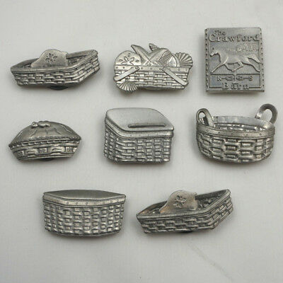 8 Longaberger Pewter Magnets Baskets Pie Plate Recipe Button Bread Barn ST22