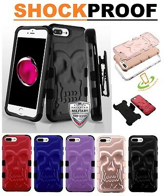 iPhone 6 s 7 8 /Plus SKULL Hybrid Skeleton Shock Armor Rubber Case Cover HOLSTER