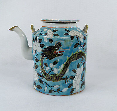 Antique Chinese Porcelain  Famille Rose Verte Dragon Teapot