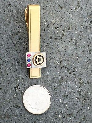 Vintage Bell Telephone Gold Filled Tie Clip 2 Rubies 1 Sapphire