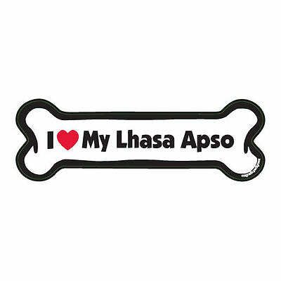 I Love My Lhasa Apso Dog Bone Car Magnet