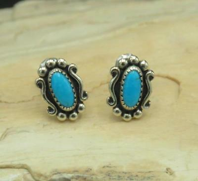 Signed 925 Sterling Silver Turquoise Southwest Stud Earring
