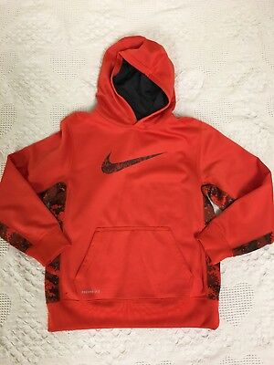 BOYs Nike THERMA-FIT  Hoodie Orange Red Digital Camo Size Large