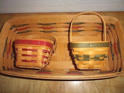 3 Signed 1995 Longaberger Christmas Baskets