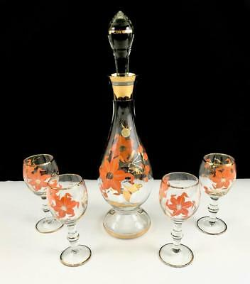 Hand Painted Romanian Glass Decanter Set w/ 4 Cordial Glasses