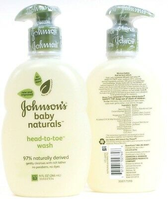 2 No More Tear Johnson's Baby 97% Naturals 9 oz Head To Toe Wash Gently Cleanses