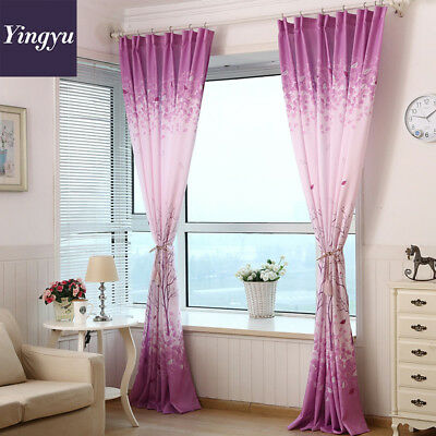 Shiny Purple Flower Tree Digital Printing Blockout Photo Curtains Drape Home US