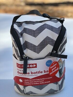 Skip Hop Grab & Go Double Bottle Bag Chevron With Ice Pack