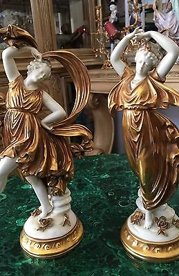 Amazing Antique Pair Of Continental Porcelain Figurined