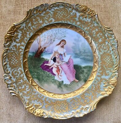 Amazing Antique Dresden Hand Painted Porcelain Cabinet Plate
