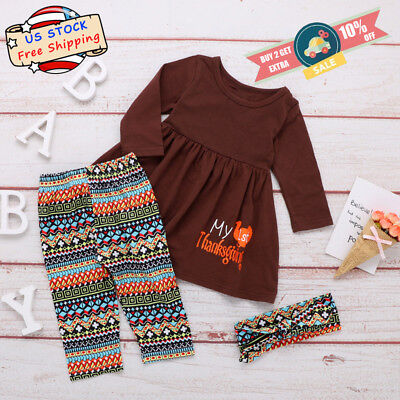Toddle Baby Girls Long Sleeve Tops+Geometric Pants Headband Thanksgiving Outfits