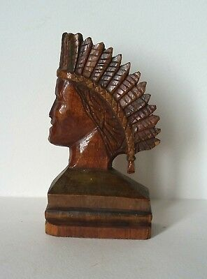 Very Rare Antique Carved Head Of A Native Indian Chieftain Quebec Early 19Th C.