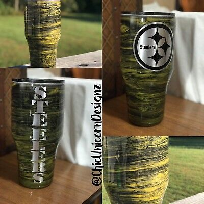 Steeler Football 30oz Metallic Tumbler
