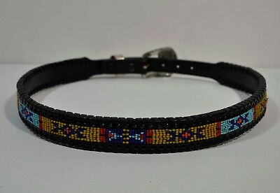 Vintage Black SEED BEAD Leather Indian WESTERN Style Colorful BELT 1991 Sz 28