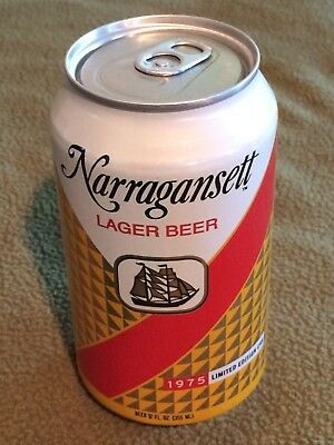 Narragansett Lager Beer 1975 Retro Label Jaws Can Movie Bottom Opened